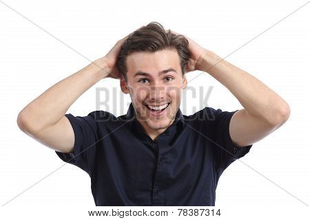 Surprised Happy Man Smiling With Hands On Head