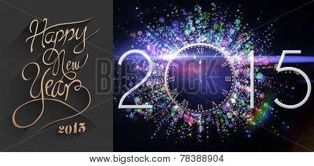 Classy new year greeting against black and purple new year graphic