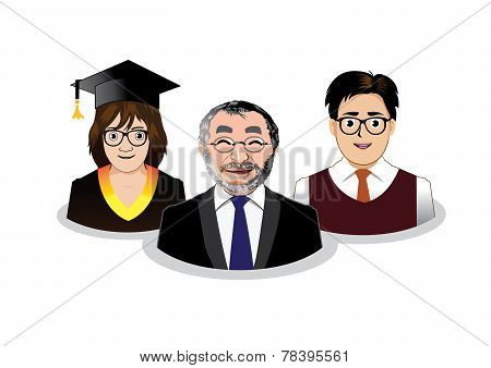 Three school people icons