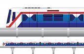 Sky Train in Bangkok Thailand. Vector and Illustration poster