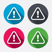 Attention sign icon. Exclamation mark. Hazard warning symbol. Circle buttons with long shadow. 4 icons set. Vector poster
