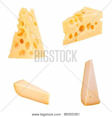 Set Of Cheese Chunks Isolated On White Background