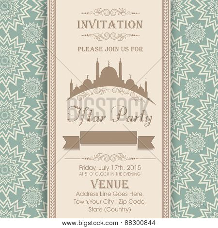 Islamic holy month of prayers Ramadan Kareem celebrations, Invitation card design for Iftar Party with mosque on seamless floral pattern background.