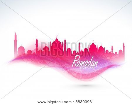 Beautiful floral design decorated pink Mosque for Islamic holy month of prayer, Ramadan Kareem celebration.