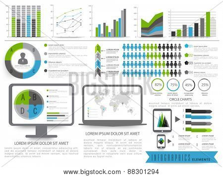 A big set of Business Infographics elements including bars, graphs and desktop screen showing pie chart and world map.