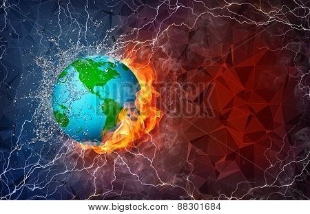 Globe on fire and water with lightening around on abstract polygonal background. Horizontal layout with text space.
