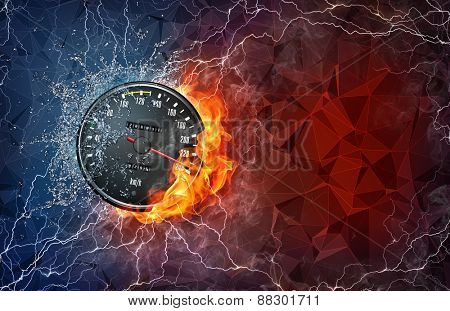 Kilometer gauge on fire and water with lightening around on abstract polygonal background. Horizontal layout with text space.