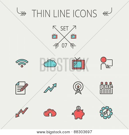 Business thin line icon set for web and mobile. Set includes- wifi, notepad, cloud arrows, antenna, money, gear icons. Modern minimalistic flat design. Vector icon with dark grey outline and offset