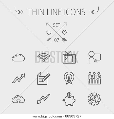 Business thin line icon set for web and mobile. Set includes- wifi, notepad, cloud arrows, antenna, money, gear icons. Modern minimalistic flat design. Vector dark grey icon on light grey background.