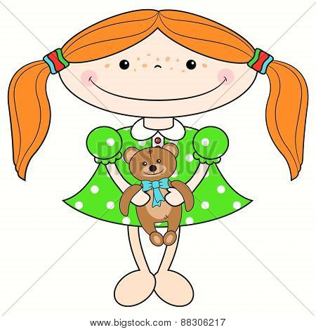 Red-haired Girl With A Bear