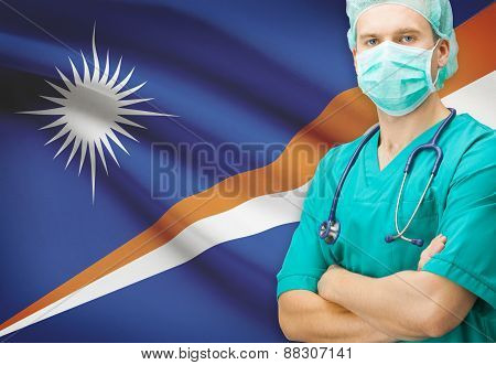 Surgeon With National Flag On Background Series - Marshall Islands