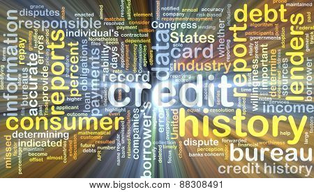 Background text pattern concept wordcloud illustration of credit history glowing light