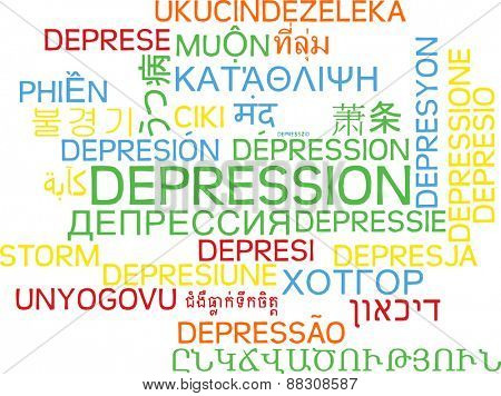 Background concept wordcloud multilanguage international many language illustration of depression