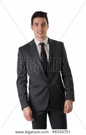 Handsome elegant young man with business suit smiling