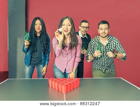 Young People Playing Beer Pong