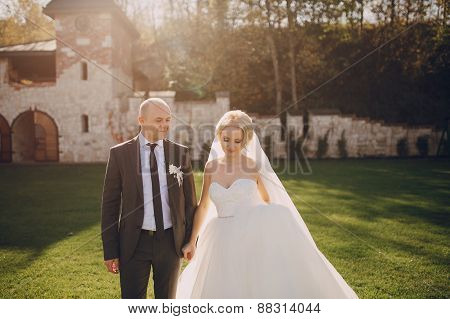 Blonde Bride With Her Groom