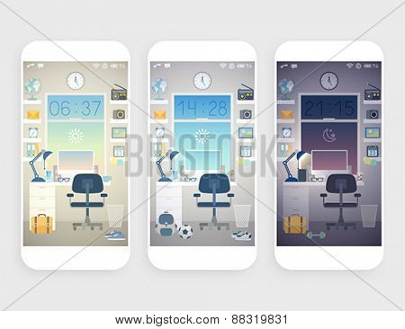 Set of wallpapers for mobile phone.  -  Stock Illustration