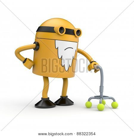 Old orange robot whose back pain holding a cane