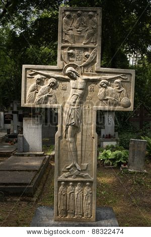 PRAGUE, CZECH REPUBLIC - MAY 28, 2012: Grave of Russian nobleman Prince Sergey Galitzine among graves of Russian white emigrants at the Olsany Cemetery in Prague, Czech Republic.