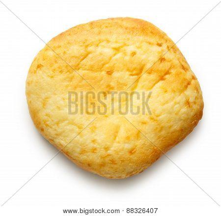 Round sour cream dessert bun on white background poster