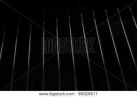 Crome Stainless Steel Iron Grill Black And White Background