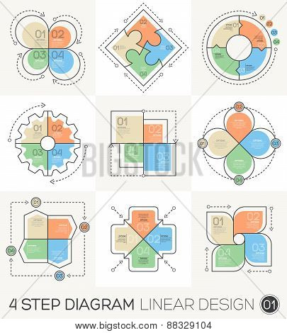 Linear Line Graphic Design Elements & Infographic Template For Cycle Diagram, Graph, Presentation An