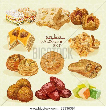Arabic Food. Set of Eastern desserts