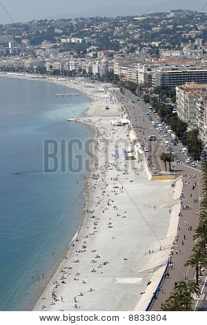 View over Bay of Angels with seafront and beaches along Promenade des Anglais at Nice. Cote d'Azur. France poster
