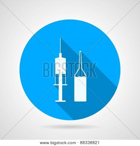 Flat blue round vector icon with white silhouette ampoule with liquid and syringe for medical injection on gray background. Long shadow design poster
