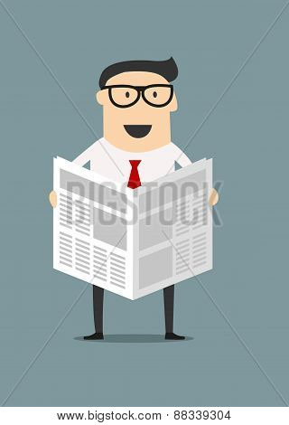 Cartoon businessman reading a newspaper