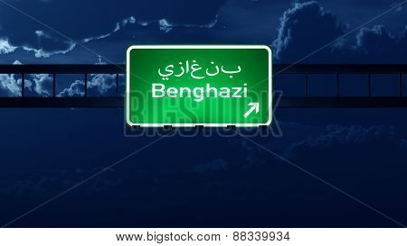 Benghazi Lybia Highway Road Sign At Night