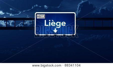 Liege Belgium Highway Road Sign At Night
