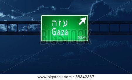 Gaza Israel Highway Road Sign at Night 3D artwork poster