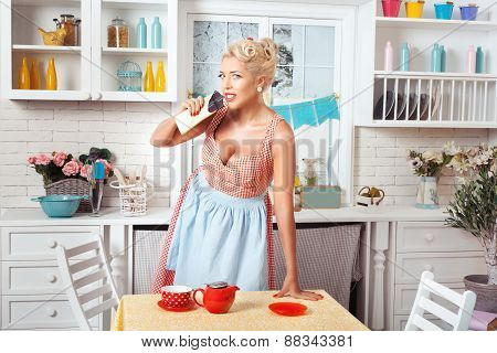 Retro Woman With Chocolate Candies.