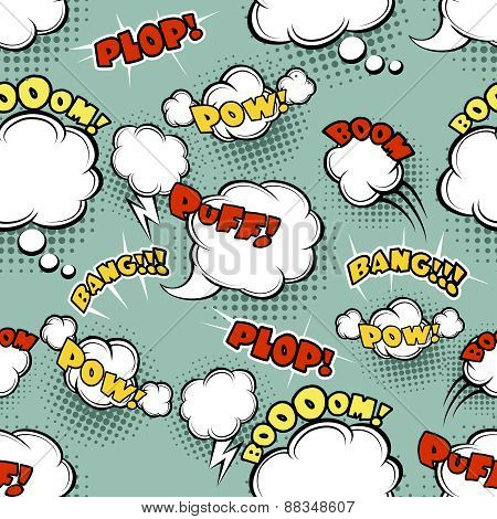 Seamless comic background bubble bang and funny symbol