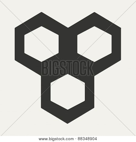 Flat in black and white mobile application chemical bond