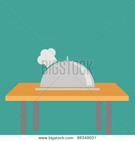 Silver Platter Cloche Chef Hat On The Table. Flat Design