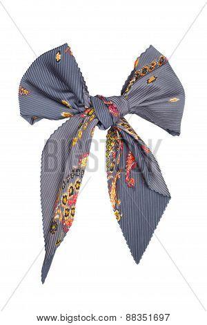 Silk Scarf. Gray Silk Scarf Folded Like Bowknot