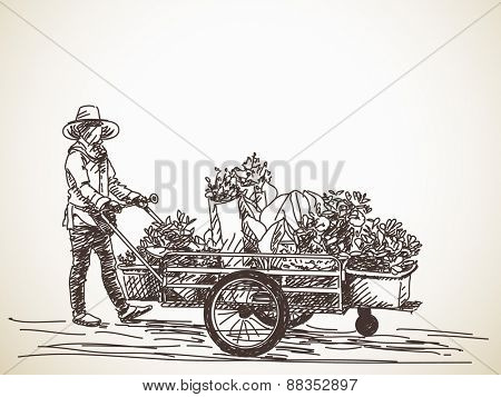 Sketch of hawker with flower cart Hand drawn vector illustration