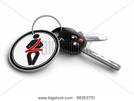 Car Keys with road sign key ring and safety belt icon