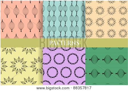 Set, collection, group of six vintage, blue, green, pink, violet, seamless patterns with simple, bla