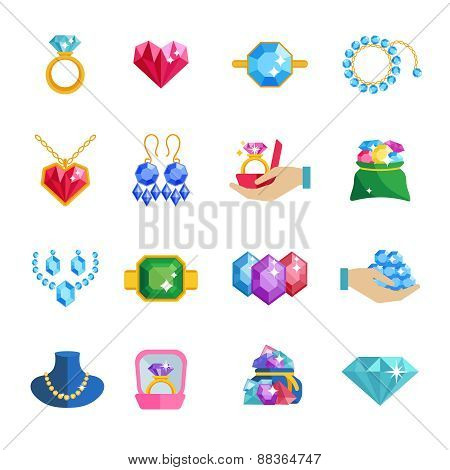 Precious jewels beautiful luxury accessories and adornments icons flat set isolated vector illustration poster