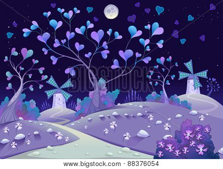 Nightly springy landscape with windmills. Funny cartoon and vector illustration.