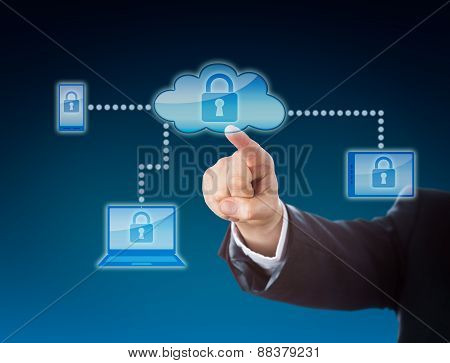 Cloud Computing Security Metaphor In Blue