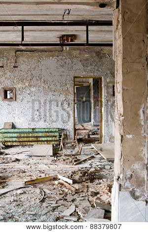 The Interior Of The Palace Of Culture In The Main Square In Pripyat Ghost Town, Chernobyl Nuclear Po