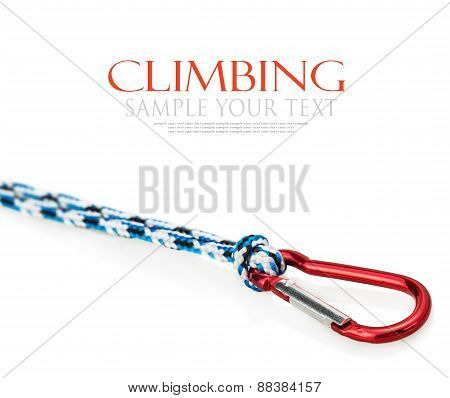 Carabiner And Rope Climbing Equipment Isolated
