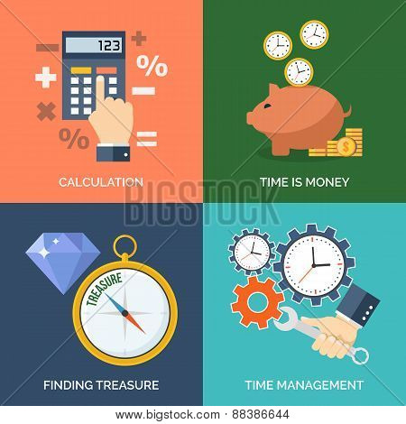 Set Of Flat Design Concept Icons For Business. Calculation, Time Is Money, Finding Treasure And Time