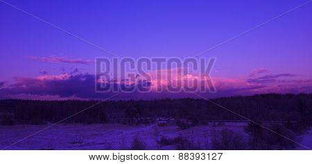 Beautifully illuminated clouds at sunset