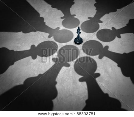 Winning together business team symbol teaming up to defeat a powerful opponent with eight chess pawns encircling the competition forming a strong partnership that succeeds over the king as a winning group strategy. poster