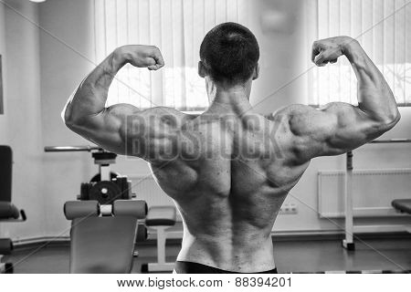 Bodybuilder man posing in GYM. The very power athletic guy standing in the gym, workout at the gym poster